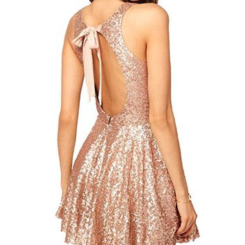 Sequins Open Back Cocktail Dress