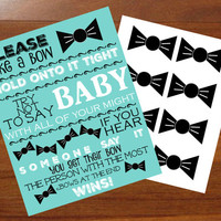 Bow Tie, Don't say baby,  shower game, boy, Turquoise and Black, Printable, 8x10, download, black and blue, Kit, words for the wee hours