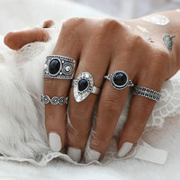 2017 NEW Turkish Vintage Ring Sets 5 PCS Antique Alloy Nature Blue Stone Midi finger Rings for Women Steampunk Anillos Dropship 0527