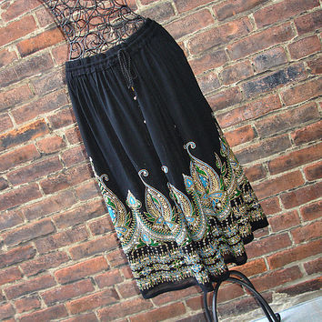 Gypsy Skirt: Black Skirt, Boho Skirt, Knee Length Bohemian Indian Crinkle Sequin Turquoise Floral Skirt Cover Up