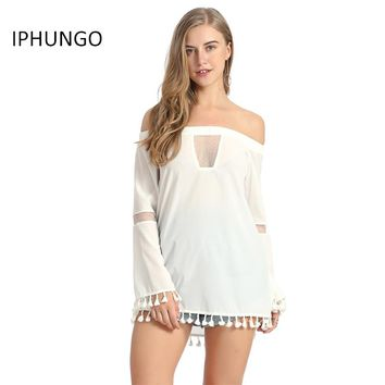 Long Top Women Sexy Off Shoulder Shirt Long Sleeve Transparent Splicing Tassel Fringe Top Shirt