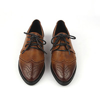 oxfords All- Matched Rough Heel Lace Up Fashion Leather Shoes For Women