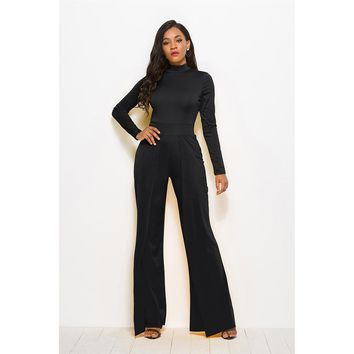 Avery High Neck Wide Leg Jumpsuit - Black