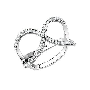 Forever Intertwined - Women's Stainless Steel CZ Intertwined Fashion Statement Ring