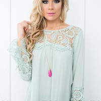 So in Love Lace Top in Eggshell Blue