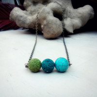Simple Gemstone necklace, Lava rock Turquoise necklace, Turquoise gem bar necklace,  Blue Green Delicate necklace, December birthstone GN006