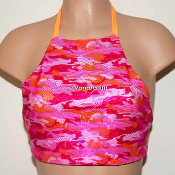 Pink & Orange Camo High Neck Crop Top, Backless Reversible Halter Top, Seamless Spandex Hippie Crop Top, Coachella Festival Crop Top