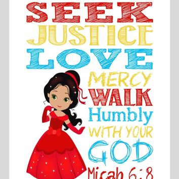 Elena Christian Princess Nursery Decor Wall Art Print - Seek Justice Love Mercy - Micah 6:8 Bible Verse - Multiple Sizes