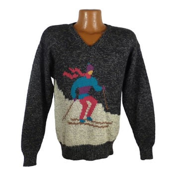 Ugly Christmas Sweater Vintage 1980s Skier  Holiday Tacky Xmas Party Men's Size M