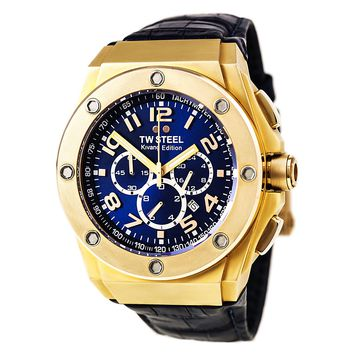 TW Steel CE4004 Men's CEO Kivanc Chrono Blue Dial Blue Leather Strap Watch