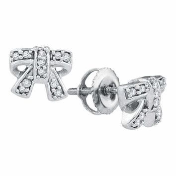 10kt White Gold Women's Round Diamond Ribbon Bow Cluster Screwback Earrings 1-10 Cttw - FREE Shipping (USA/CAN)