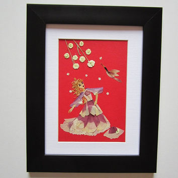 "Unique picture from pressed flowers ""Dancing in nature"" - Pressed flowers art - Original art collage - Home decor wall art - Framed picture."