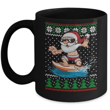 IKCKIJ3 Santa Surfing Hawaiian Summer Christmas Ugly Sweater Mug