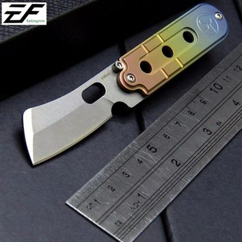 Eafengrow serge S35VN blade knife chain titanium handle camping pocket knives tactical  Outdoor EDC Mini key Tool knives