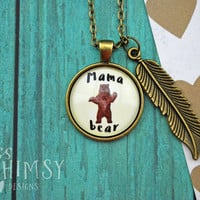 WEEKLY DEAL! Mama Bear Necklace With Feather Charm in Antique Bronze