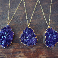 Lux Talisman ///  Handcrafted Electroformed Amethyst Druzy Necklace /// Layering, bohemian, crystal, healing, druzy /// Gold
