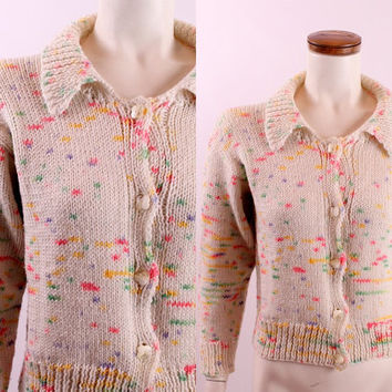 Vintage 60s - Ivory Cream - Rainbow Pink Yellow Green Purple - Birthday Cake Speckled - Knitted Button Up Cardigan Sweater