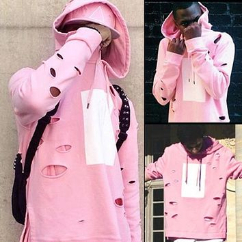 Uwback Mens Hip Hop Pink Hoodies Tracksuit Men Ripped Hole Hoodies Men Streetwear Loose Pullovers Jumpers Male Oversize CAA328