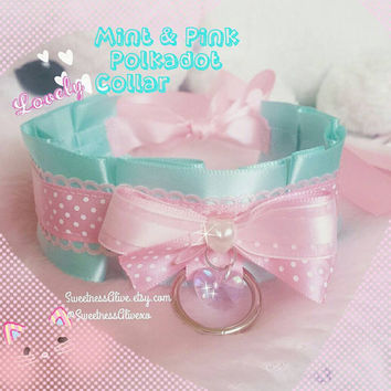 Mint and Pink Polkadot Neko Collar Pearl Bow
