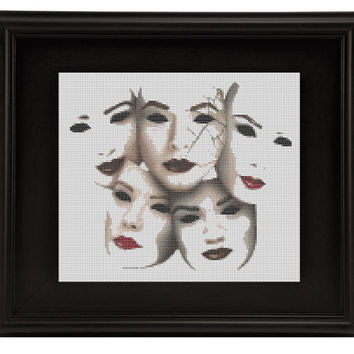 PRETTY LITTLE LIARS cross stitch pattern chart - Theatre Masks the Arts- drama pdf format