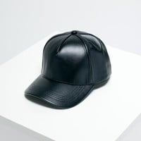 Black Faux Leather Basic Baseball Cap