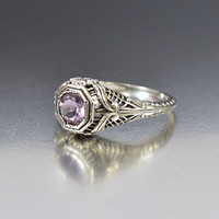 Silver Filigree Amethyst Engagement Ring Edwardian Style
