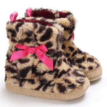 0-18M Baby Boy Girl Leopard Warm Snow Boots Infant Toddler Soft Sole Boots Shoes