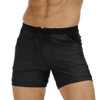 Summer Men's Swimming Trunks Solid Patchwork Swimwear Man Boy Sexy Quick Dry