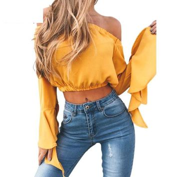 Crop Tops Long Flare Sleeves Solid Color Tops