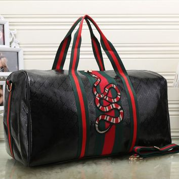 Gucci Women Fashion Leather Embroidery Luggage Travel Bags Tote Handbag