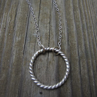 Silver Hoop Necklace, Silver Circle Necklace, Twisted Rope Necklace, Eternity Necklace