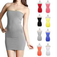 Summer sexy elastic gathering wild party package hip wrapped chest Bra simple dress miniskirt