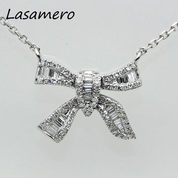LASAMERO Halo 0.36CT 18k White Gold Round Cut Floral Hollow Filigree Pave Set Diamond Pendant Necklace