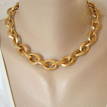 Klein Anne Chain Link Necklace Light Matt Goldtone Vintage Jewelry