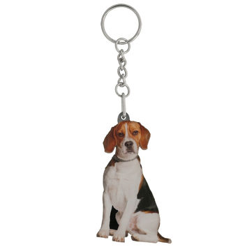 Beagle Mirrored Acrylic Keychain