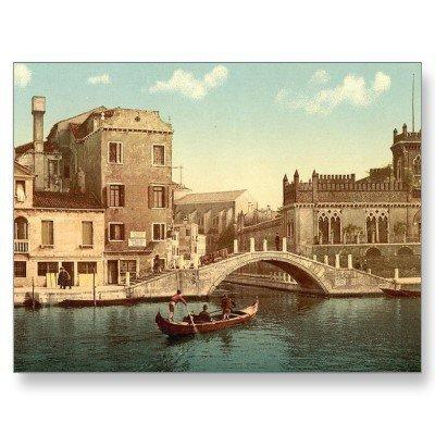Bridge and canal, Venice, Italy Postcard from Zazzle.com