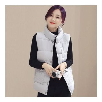 Winter Waistcoat Vest Thick Down Coat Woman Short   grey