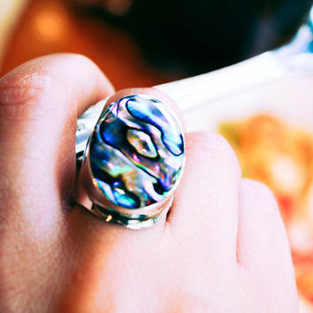 Abalone Seashell Sterling Silver Ring