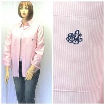 Vintage 80s Ralph Lauren pink/white striped oxford shirt L Lauren preppy long sleeve b