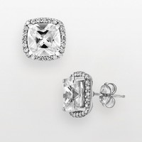 DiamonLuxe Sterling Silver 4 3/4-ct. T.W. Simulated Diamond Halo Stud Earrings (White)
