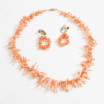 Vintage Coral Necklace + Earrings Set - Pink Beach Stick 1960s Jewelry Beaded Choker