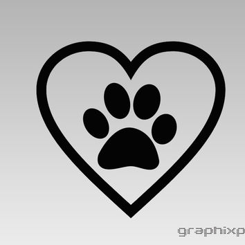 Heart Paw Print Decal *Choose size & color* C2185