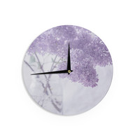 "Suzanne Harford ""Lilacs"" Purple Floral Wall Clock"