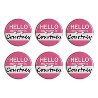 Courtney Hello My Name Is Plastic Resin Button Set of 6