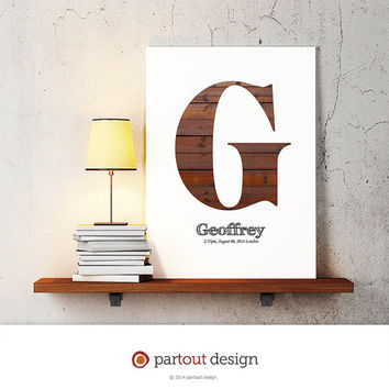 letter G baby nursery art monogram logo personalized gift baby name initial art print DIY printable letter nursery decor initial name art