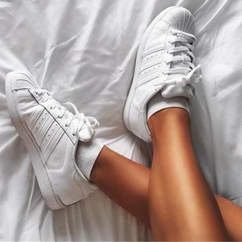 """""""Adidas"""" Superstar Shell toe All White Casual Sneakers"""