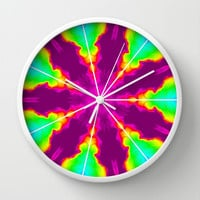 Rainbow Fire Starburst Wall Clock by 2sweet4words Designs | Society6