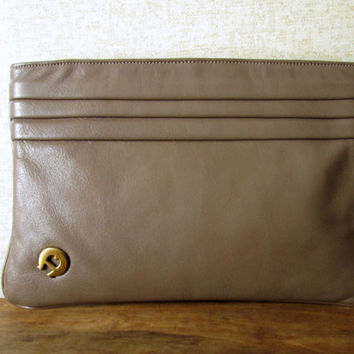 Clutch Bag Taupe Brown Leather clutch purse Etienne Aigner vintage 80s pleated leather hipster handbag designer high fashion