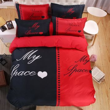 Black & Red My Place Your Place Couple Bedding Sets Love Queen/King Size Double Bed 4pcs Bed Linen Bed Sheet Duvet Cover Set
