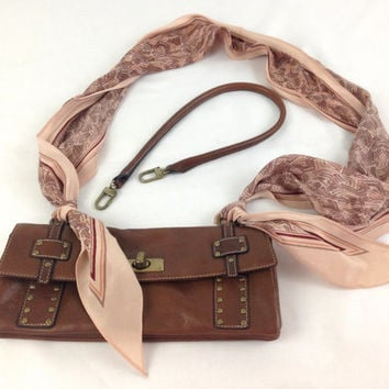 Anne Klein Brass Studded Brown Leather Purse Long Dusty Rose Neck Scarf Romantic Bohemian Leather Handbag Vintage Hippie Chic Designer Purse